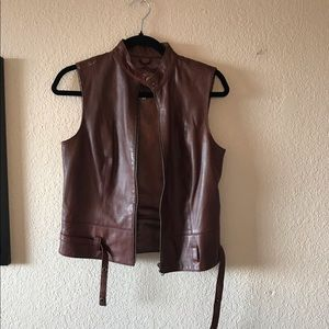 CAbi brown leather vest